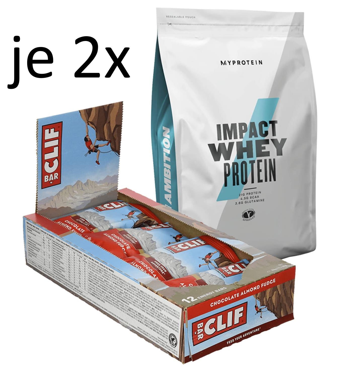 2x 1kg Myprotein Impact Whey Protein (3 Sorten, MHD 31.07./31.08.) + 24x 68g Clif Bar Chocolate Almond Fudge