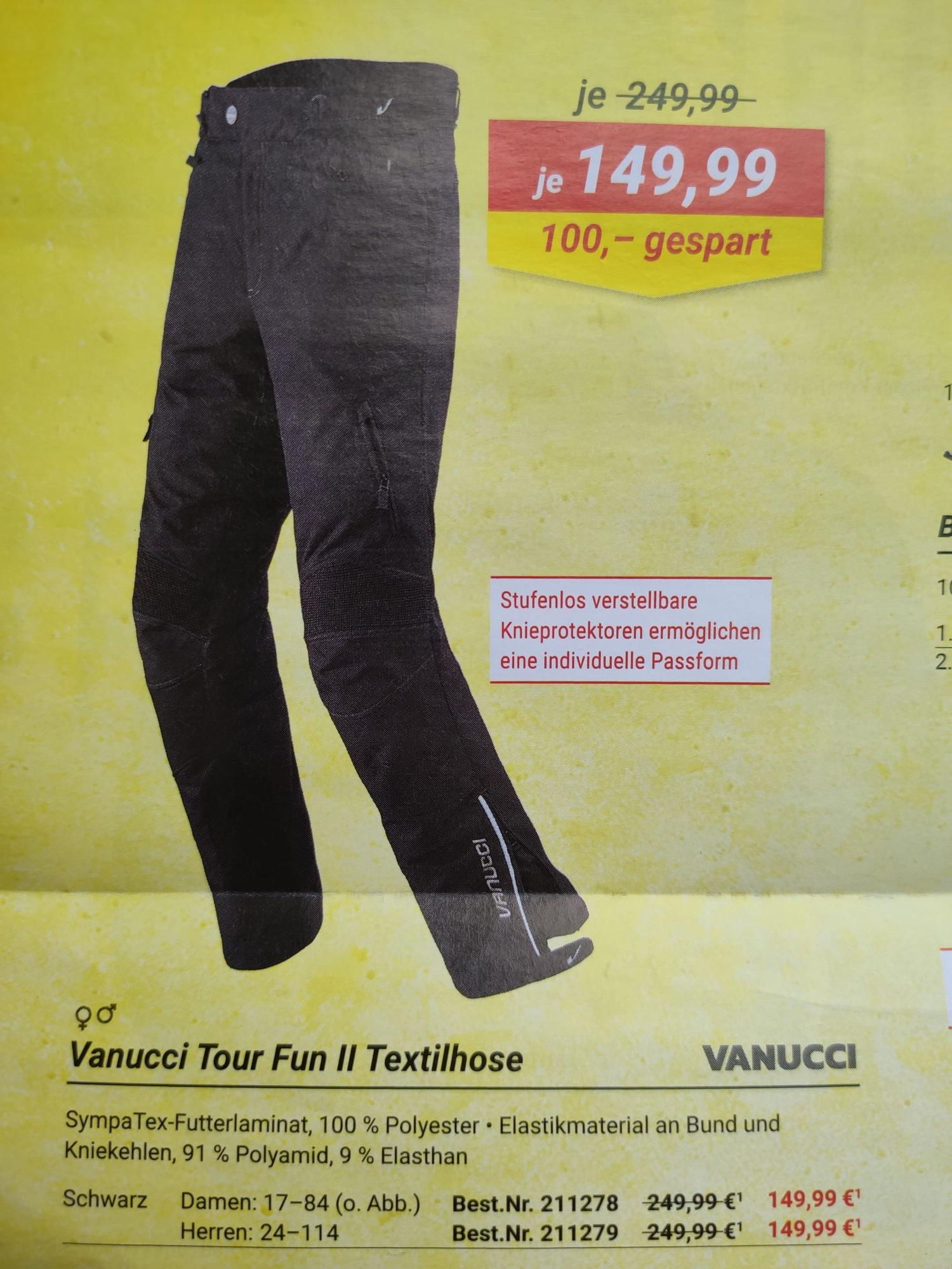 Vanucci Tour Fun II Motorrad Textilhose für Herren & Damen bei Louis für 146,20€ statt 249,99€