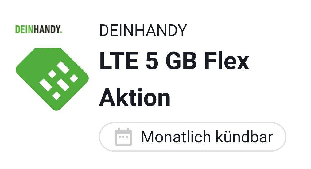 [DEINHANDY/o2/Drillisch/sim.de] 5GB LTE50 monatlich kündbar für 5,99€ mtl. (bis 31.12. nur 5,81€) / Allnet- und SMS Flat inklusive