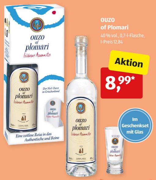 OUZO of Plomari 0,7L 40% Geschenkset mit Glas ab 17.07. für nur 8,99€ [ALDI-SÜD]