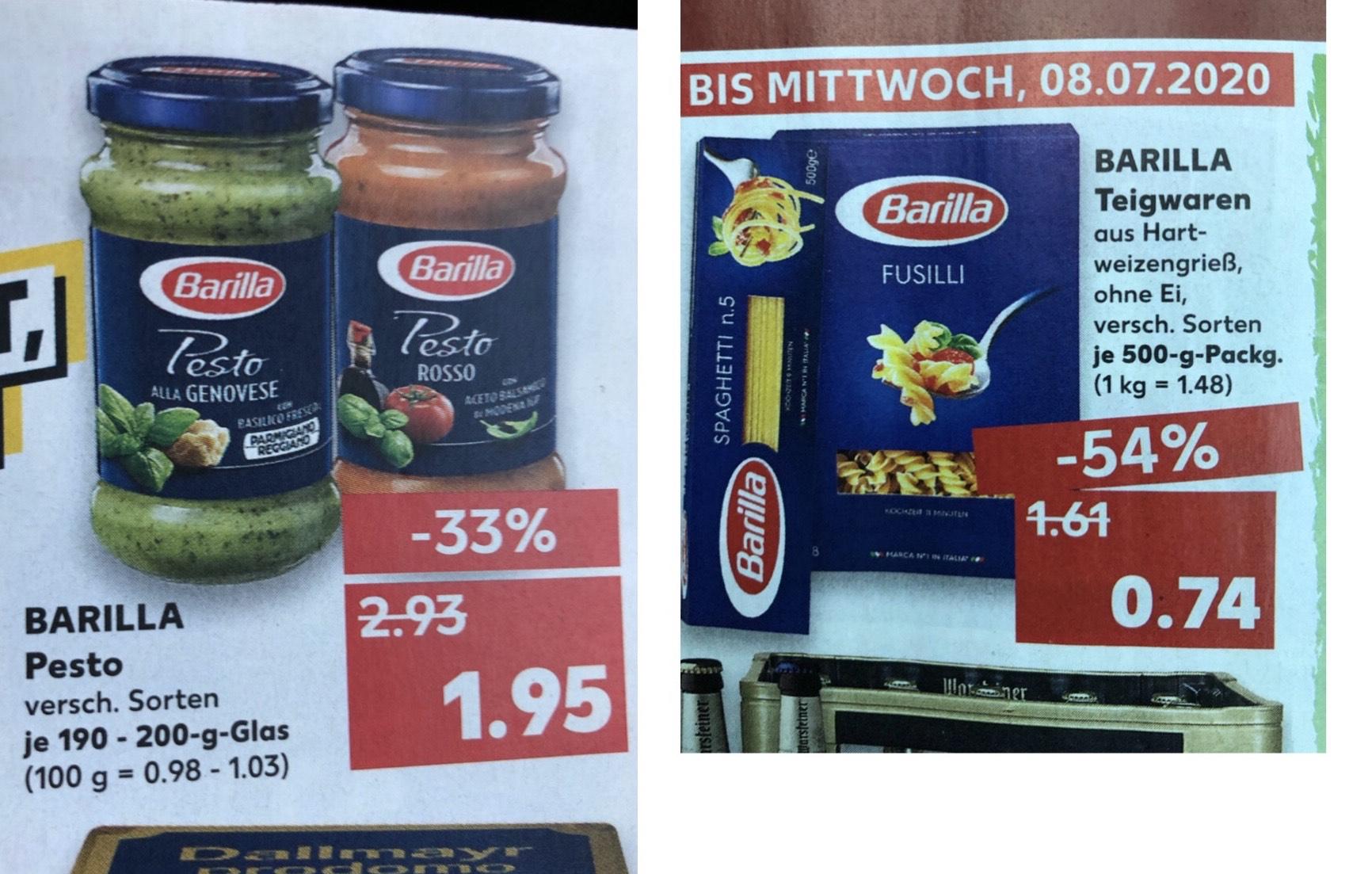 Kaufland Barilla Pesto 1,95€ und Pasta 0,74€ versch. Sorten