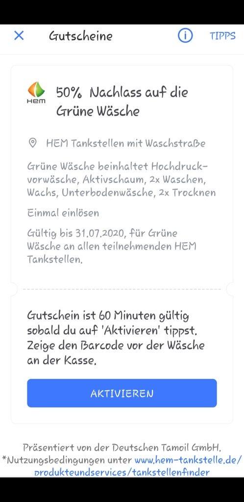 """HEM Autowäsche """"Grüne Wäsche"""" für 50% des regulären Preises über Gutschein in der Bertha-App [Android]"""