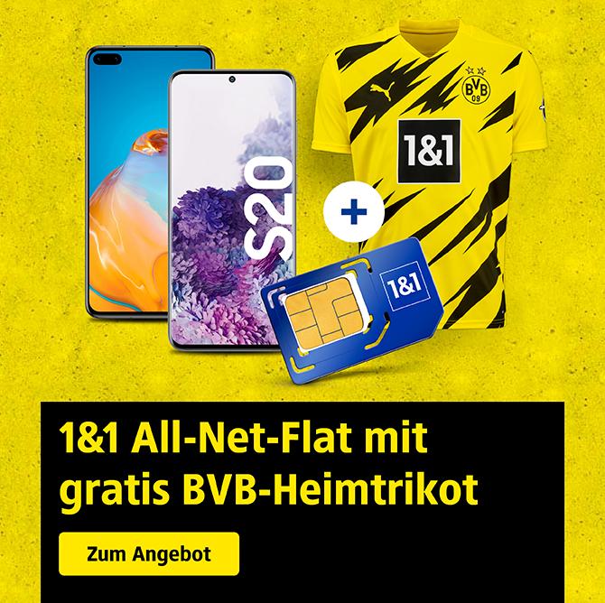 1&1 Handy & DSL Tarife inkl. neuen Borussia Dortmund Trikot, z.B. Iphone 11 128 GB mit 20 GB LTE