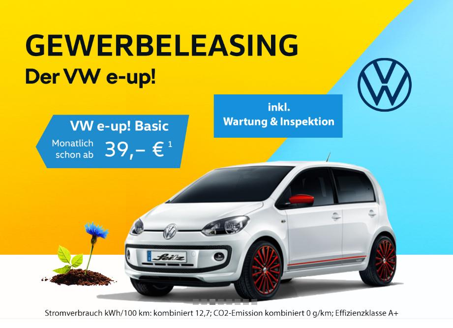 [Gewerbe] E-Auto fahren für unter 1.000 Euro: 24 Monate VW e-up inkl. Wartung und Inspektion!