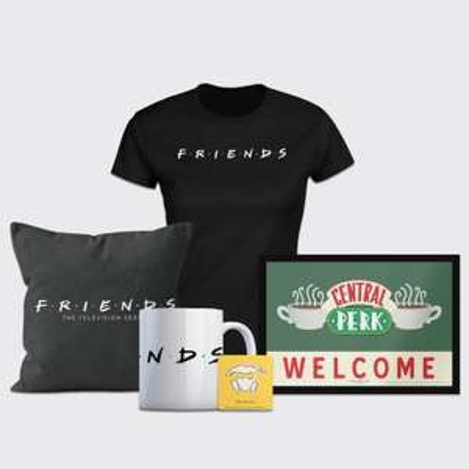Großes Friends-Bundle bestehend aus: T-Shirt (Gr. S - 5XL), Kissen, Tasse, Untersetzter und Fußmatte