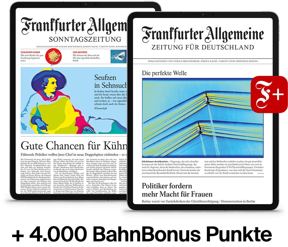 FAZ & FAS für 6 Monate als E-Paper + 4.000 BahnBonus Punkte