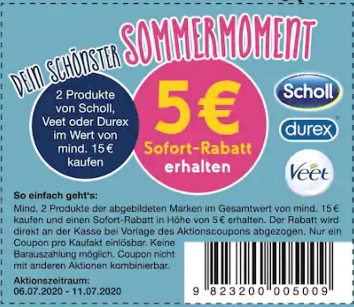 [Rossmann] 5€ Coupon für den Kauf von mind. 2 Durex, Scholl, Veet Produkten im Wert von mind. 15€