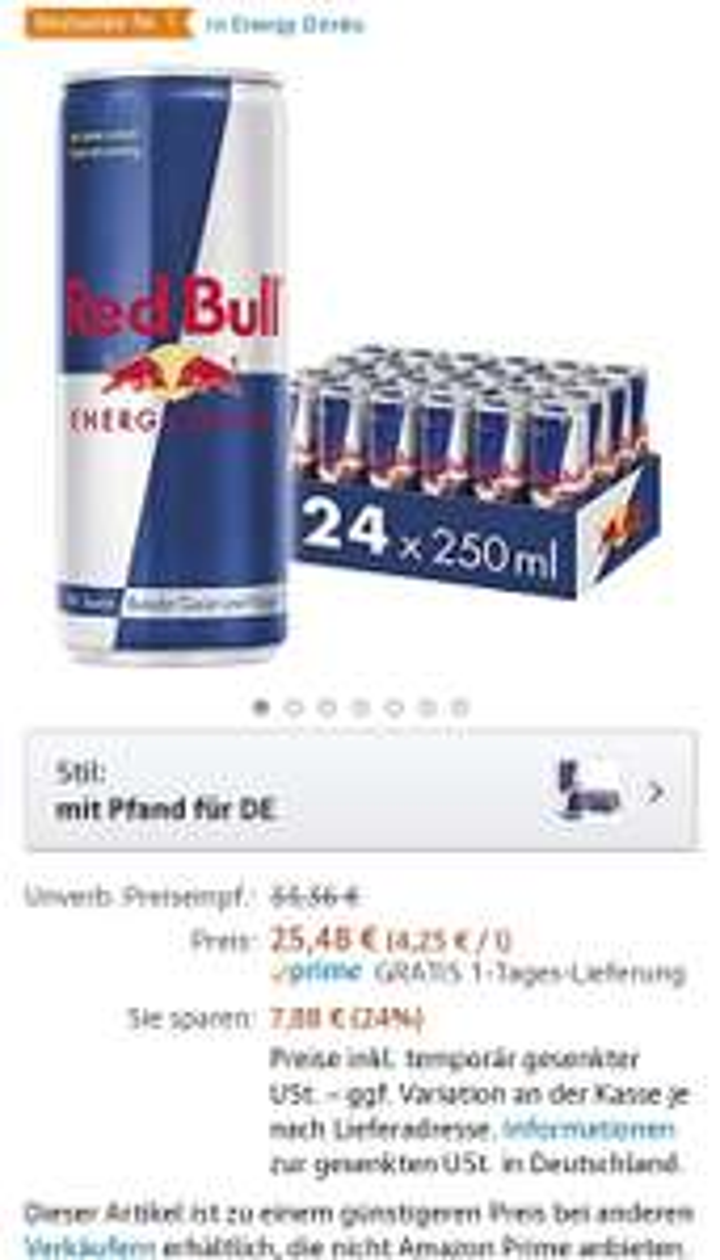 [prime + Sparabo] Roter Bulle!...reduziert bei Amazon (Red Bull Energy Drink Dosen Getränke 24er)