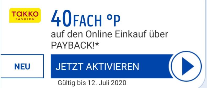 [Payback] bis zum 12.07. 40fach Punkte (20%) online bei Takko evtl. personalisiert