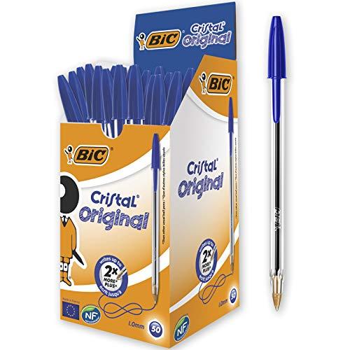 50 BIC Kugelschreiber Cristal Medium Blau, Strichstärke 0,4 mm mit Prime für 8,35€ o. 100 Stück für 15€