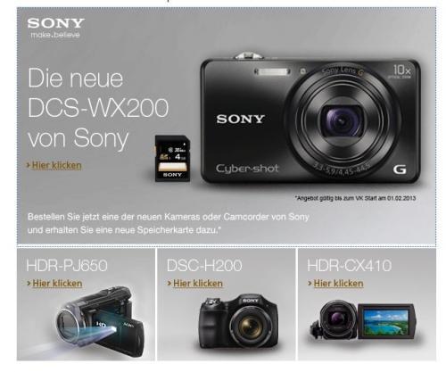 [AMAZON.DE] Kostenlose 4GB Speicherkarte beim Kauf einer Sony Digitalkamera oder Camcorder