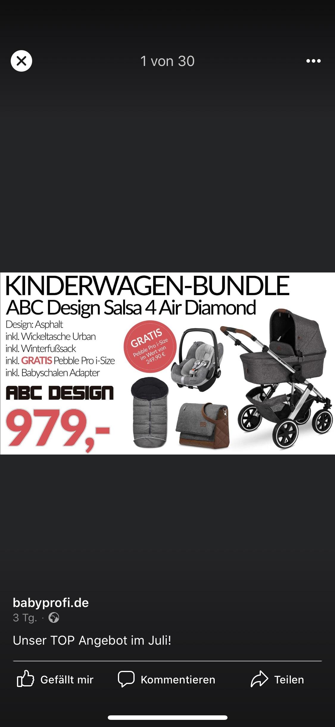 Lokal: ABC Design Salsa 4 Air Diamond Asphalt Kinderwagen mit Winterfußsack, Wickeltasche und Maxi Cosi Pebble Pro i size