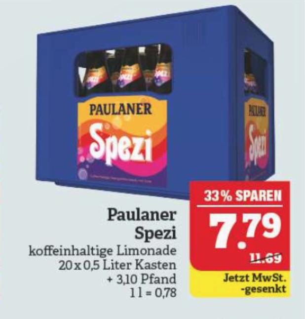 [Lokal Marktkauf Nordbayern/Sachsen/Thüringen] Paulaner Spezi 20x0,5 Liter Kasten