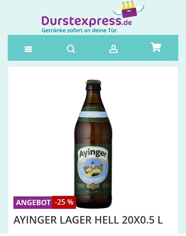 [Lokal] [München] Durstexpress - Zwei Kästen Ayinger Lager Hell