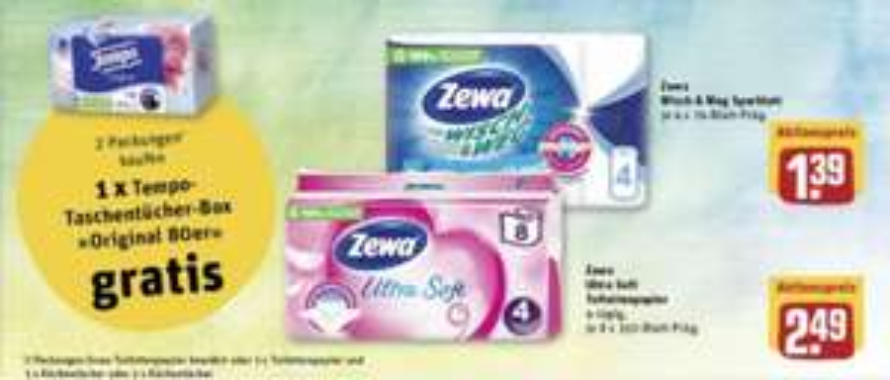 Rewe: Tempo Box Gratis bei Kauf 2 * Zewa