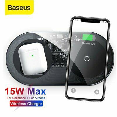 Baseus 2in1 15W Wireless Charger Schnell Ladegerät Ladestation für Apple Iphone