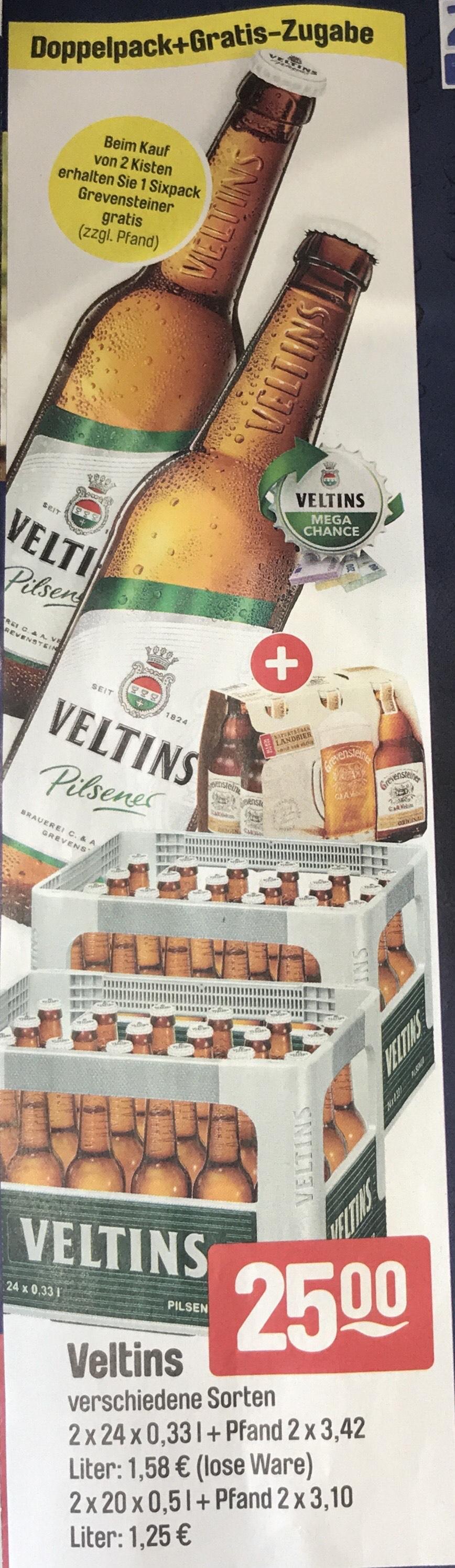 2 Kisten Veltins 1 sixpack Grevensteiner Gratis