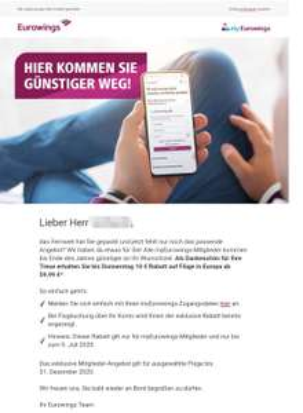 Eurowings 10€ Rabatt für eurowings mitglieder ab 59,99 €