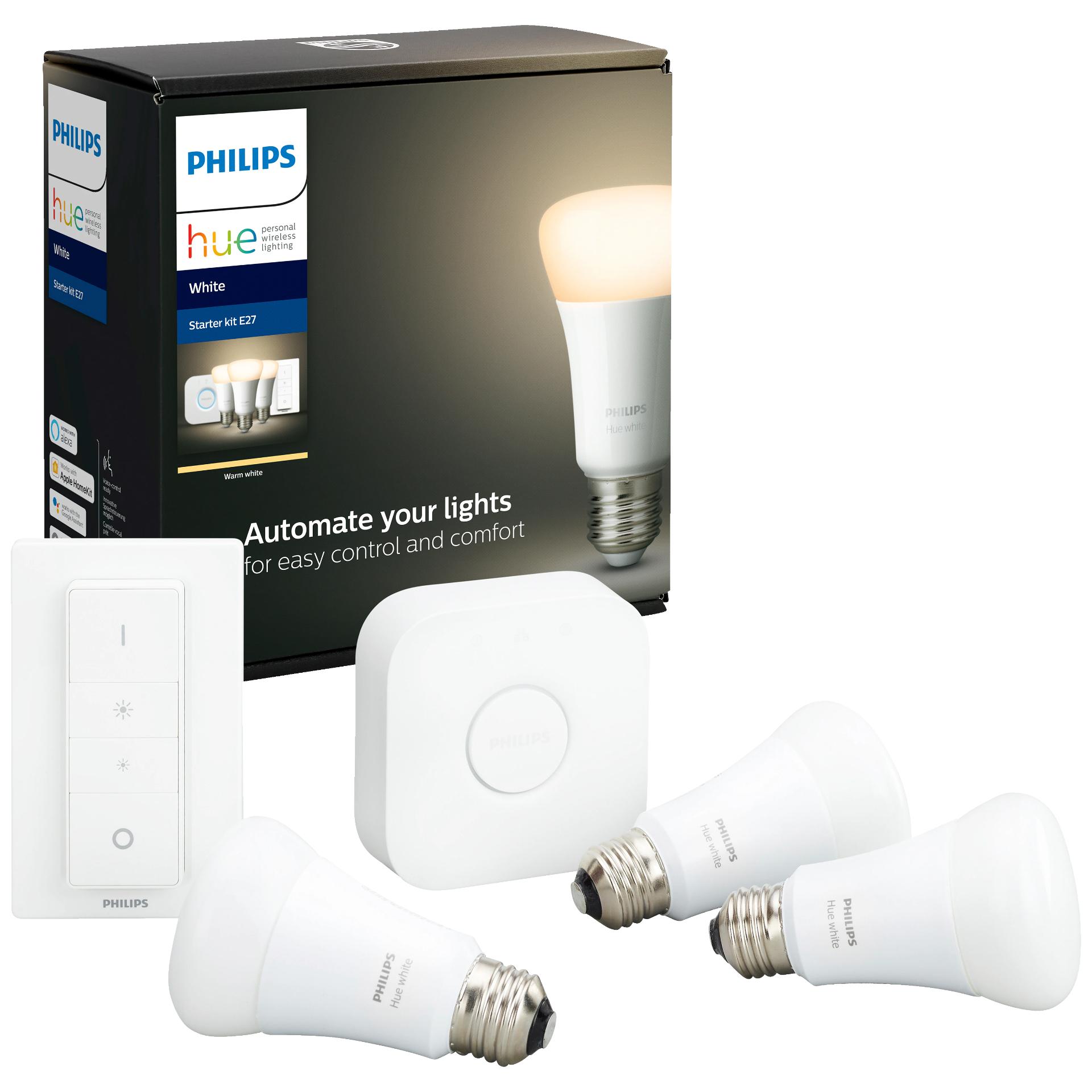 Philips Hue White - Starter Kit E27 (3x Hue White Lampe, 1x Bridge, 1x Dimmschalter)