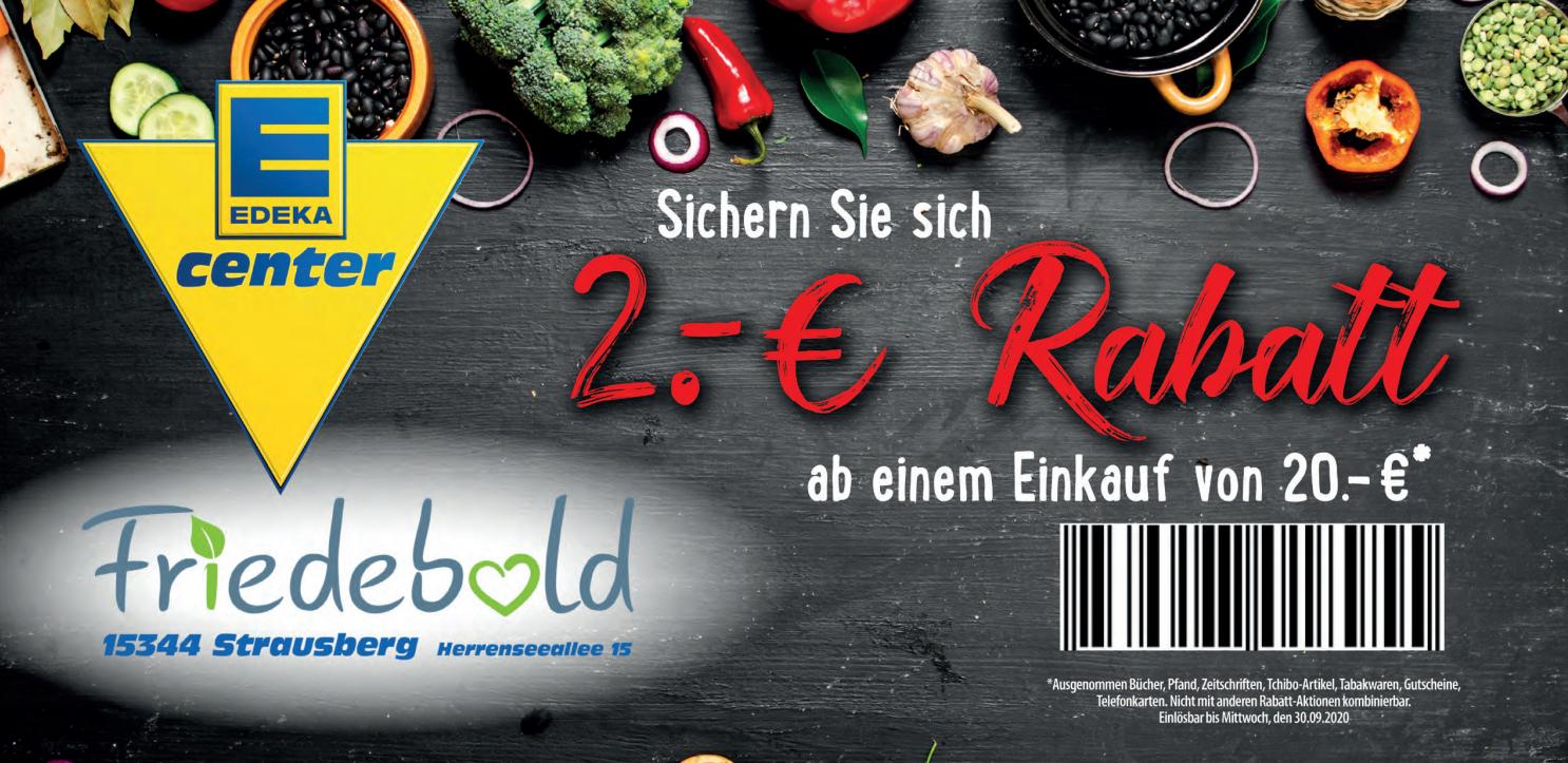 [15344 STRAUSBERG] EDEKA: 2€ Rabatt ab 20€ zum Ausdrucken (weitere Rabatte fürs Handels Centrum Strausberg)