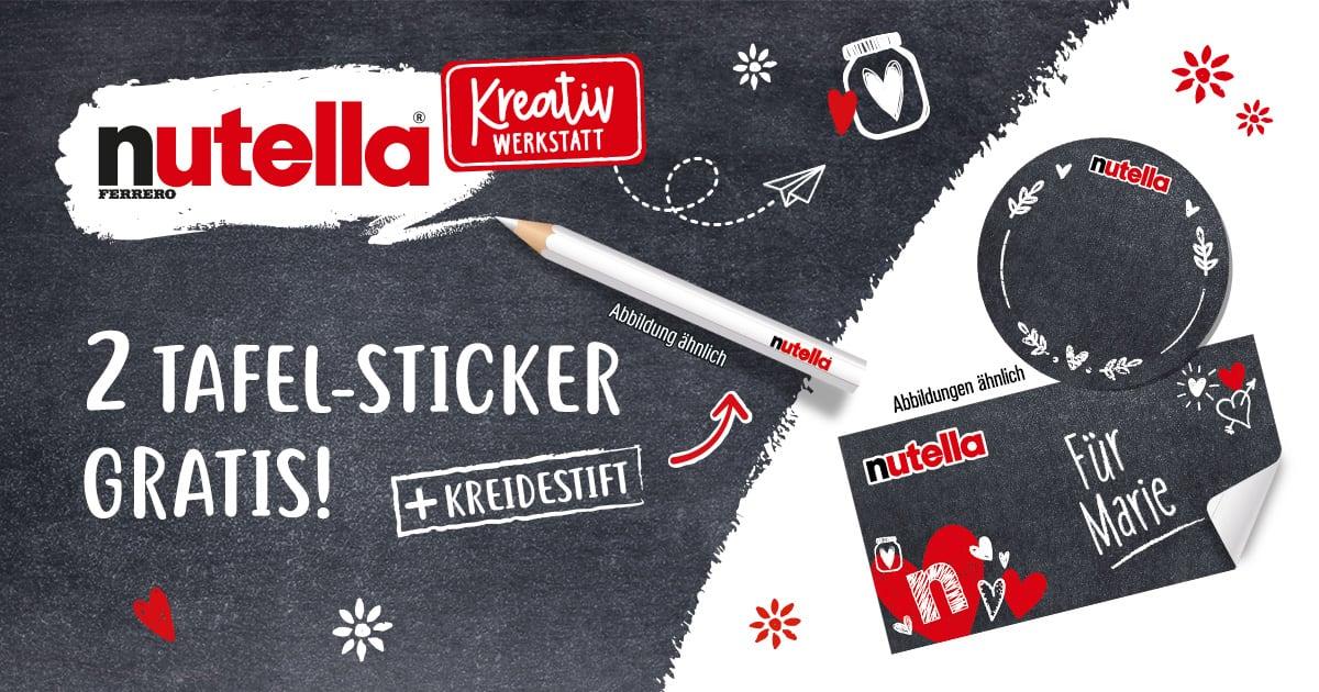 Nutella + 2 Tafelsticker + Kreidestift je Aktionsglas - Kreativwerkstatt