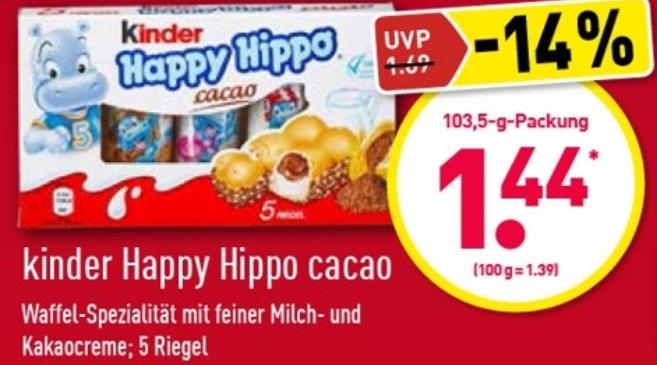 [ALDI-Nord] kinder Happy Hippo Cacao - effektiv 0,72€ durch Cashback