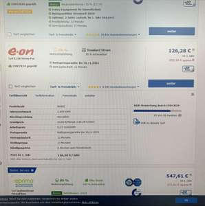 Stromwechsel über check24 bei e.on 0,25 Cent/kWh
