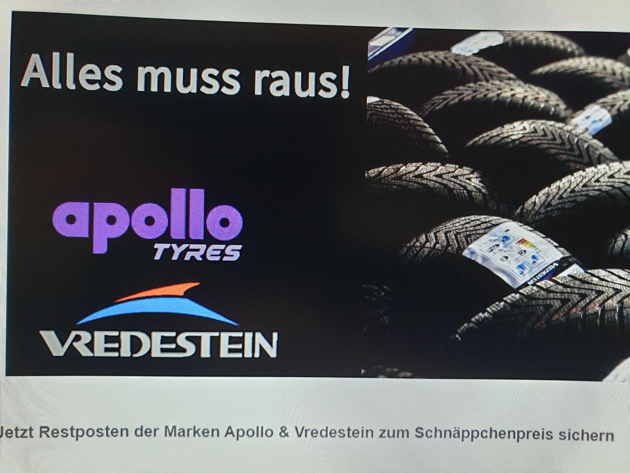 DOT 2016 / DOT 2017 Apollo & Vredestein Reifen bis zu 30% günstiger!
