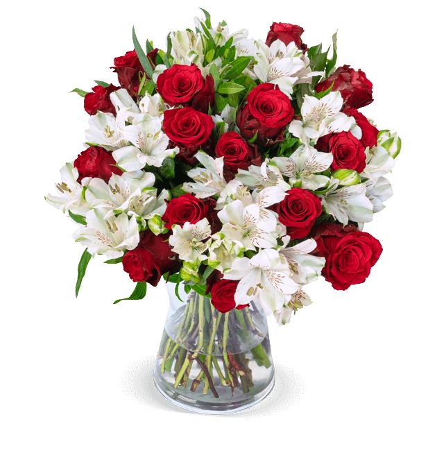 """Rosenarrangement """"Only For You"""" mit 35 Inkalilien und rote Rosen"""