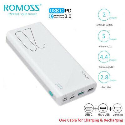ROMOSS 20000mAh Powerbank USB-C 18W 3A Schnellladen