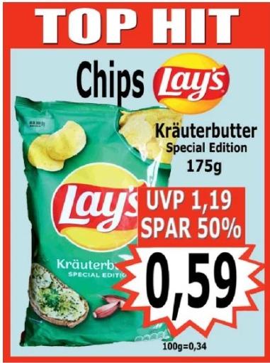 [Regional Krümet Sonderpostenmärkte ab 15.07) Lay´s Chips Kräuterbutter in der 175g Packung für schmale 0,59€