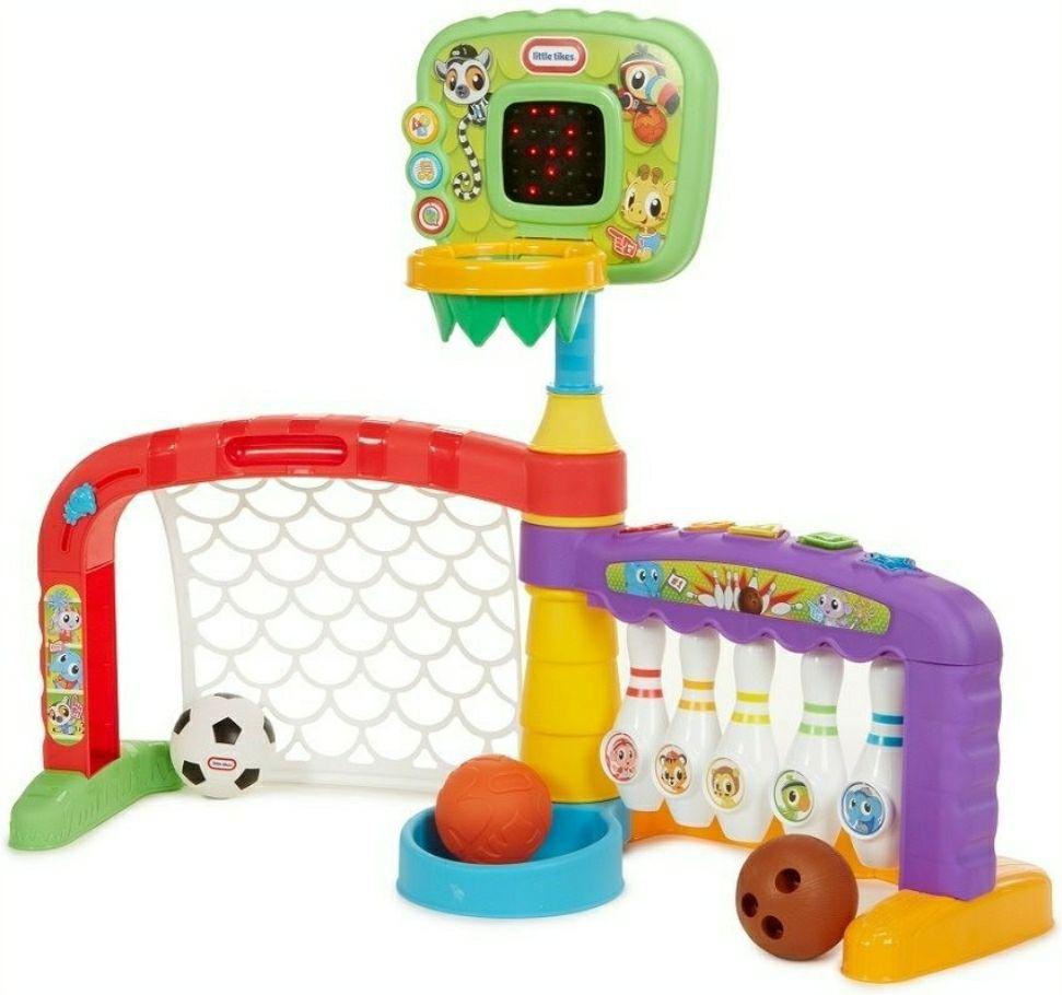 little tikes 3-in-1 Spielstation Sports Zone mit verschiedenen Spielemodi und Sound, inkl. Bällen   engl. Version