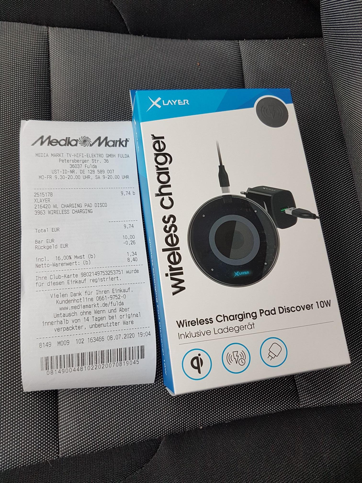 XLayer Wireless Charging Gerät inkl. Typ C Kabel & Ladeadapter / Media Markt & Saturn / 9.74€