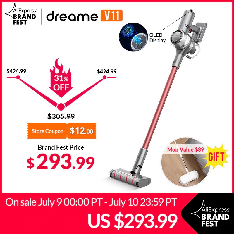 Dreame V11 Akkustaubsauger + Dreame CC Mop (450W, 25kPa Saugkraft, 125.000U/min, 3000mAh/25,2V Akku)