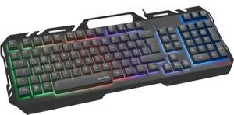 [B-Ware] Speedlink Orios Metal Gaming-Tastatur (hervorgehobene WASD- & Pfeiltasten, 5 Beleuchtungsmodi, Smartphone-Halterung, Metallgehäuse)