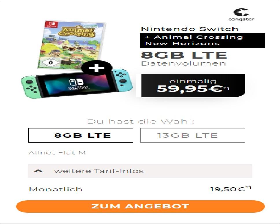 Congstar Vertrag inkl. Nintendo Switch in Animal Crossing Edition