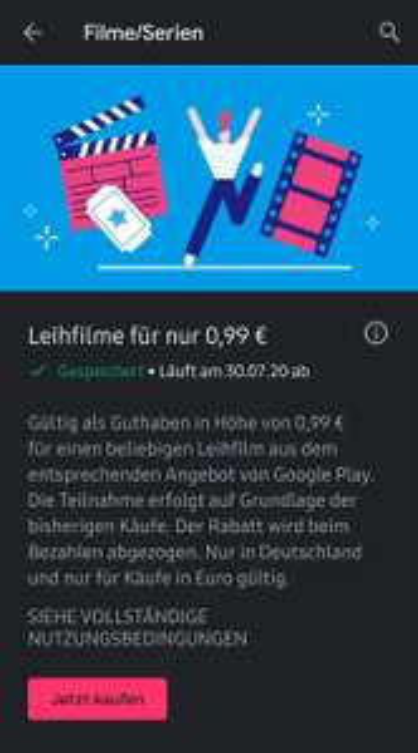 Google Play Filme Leihfilm für 0.99 €