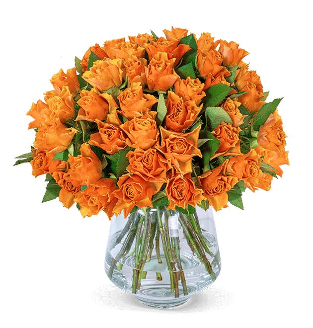 35 orange Rosen mit 50cm Länge, Lieferung zwischen dem 13.-18.07