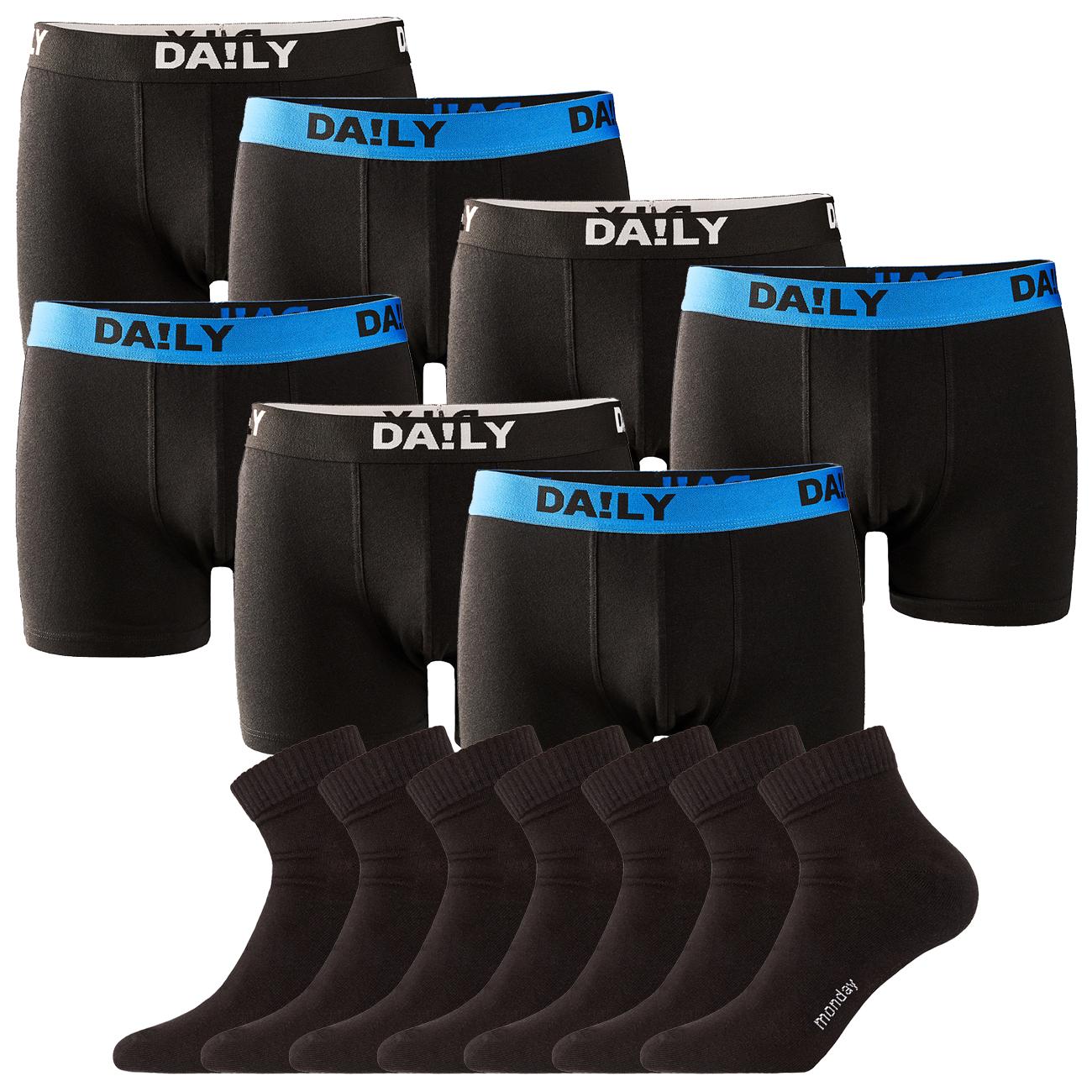 7 DA!LY UNDERWEAR Herren Boxershorts Basic Boxer (Gr. S - XXL) + 7 DAILYSOXX Herren Quarter Socken (Gr. 39 - 49) für 31,95€