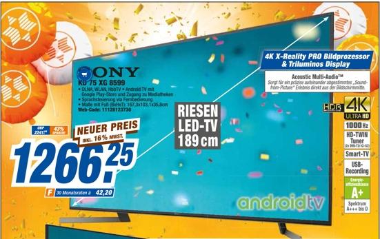 [Expert Technikmarkt Filialen] Sony Fernseher KD75XG8599BAEP 4K Ultra HD TV Smart TV, HDR, USB-Aufnahme EEK: A+ für 1266,25€