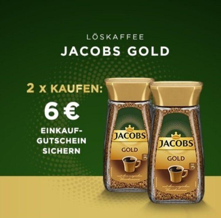 Jacobs Gold löslicher Bohnen Kaffee ( Bauarbeiter Kaffee) 2x kaufen und 6€ Gutschein erhalten, abzüglich Gutschein dann 3,76€ für 2 Gläser