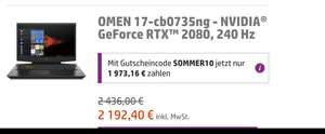 Coporate Benefits HP OMEN 17-cb0735ng RTX 2080, 240 Hz Panel, i7 9750H, 16GB RAM Gaming Notebook