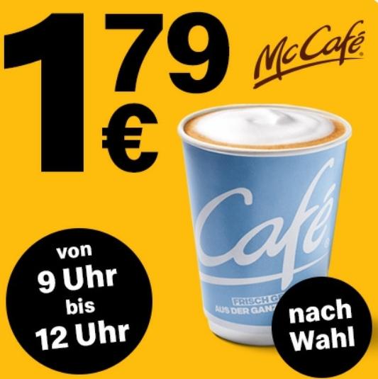 Heißgetränk nach Wahl (z.B. Cappuccino oder Latte Macciato) für 1,79€ (von 9 Uhr bis 12 Uhr) [McDonald's App]