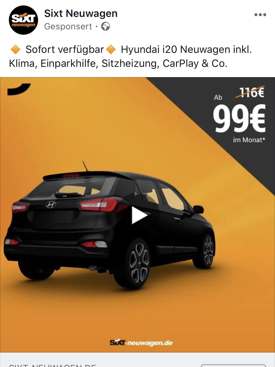 Privat-Leasing: Hyundai i20 mit guter Ausstattung (Rückfahrkamera!) ab 99€ (Gewerbe billiger!)