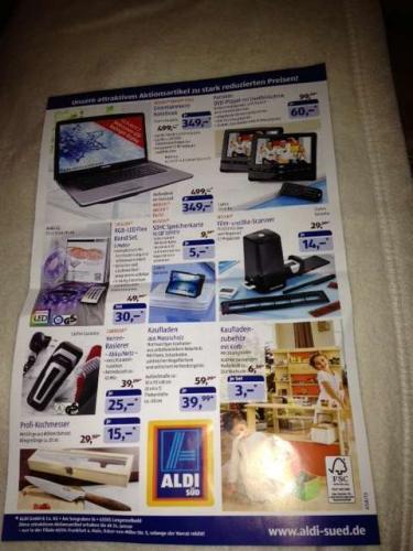 LOKAL Aldi Frankfurt - SDHC 16 GB für 5€ , 15 Zoll Win 8 i3 1TB HDD Notebook 349€ etc.