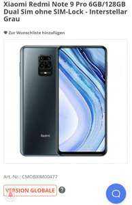 Xiaomi Redmi Note 9 Pro 6GB/128GB global Version Dual Sim ohne SIM-Lock - weiß