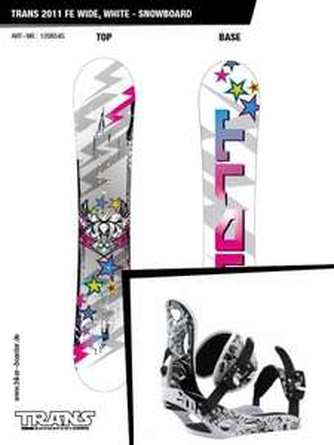 SnowboardSet 2011 Trans FE wide, white + Elfgen Freestyle 2012, white