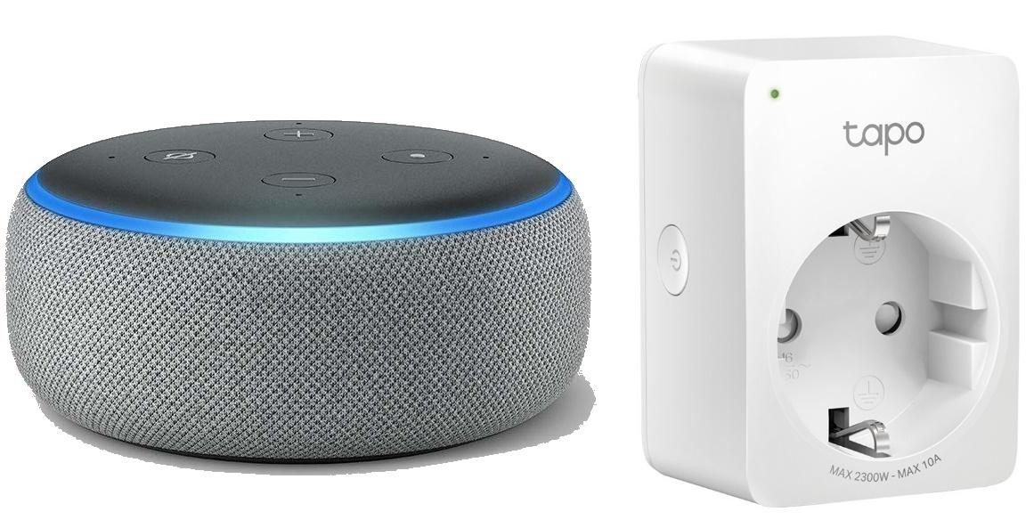 Amazon Echo Dot (3. Generation) + TP-Link Tapo P100 WLAN-Steckdose (bis 2300W bzw. 10A)