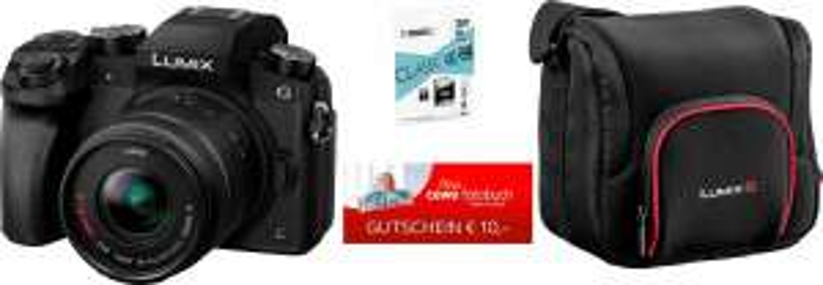 [OTTO] Panasonic Lumix DMC-G70KAEG-K mit 14-42mm Systemkamera (16 MP, WLAN (Wi-Fi), Tasche DMW-PGH68XEK + 32 GB SD-Karte + 10 € CEWE FGS)