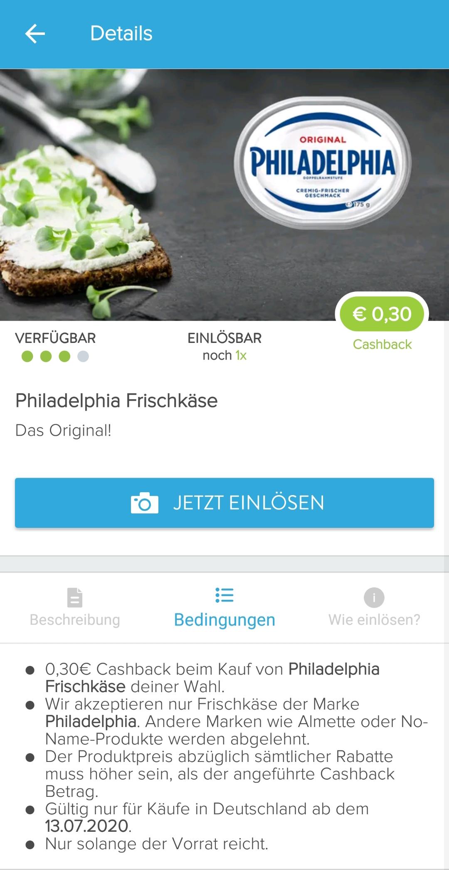 Philadelphia Frischkäse €0,43 dank marktguru Cashback bei NettoMD oder 0,56 bei Edeka
